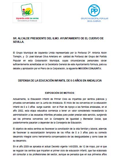 El PSOE vota en contra de la moción en defensa de las Escuelas Infantiles