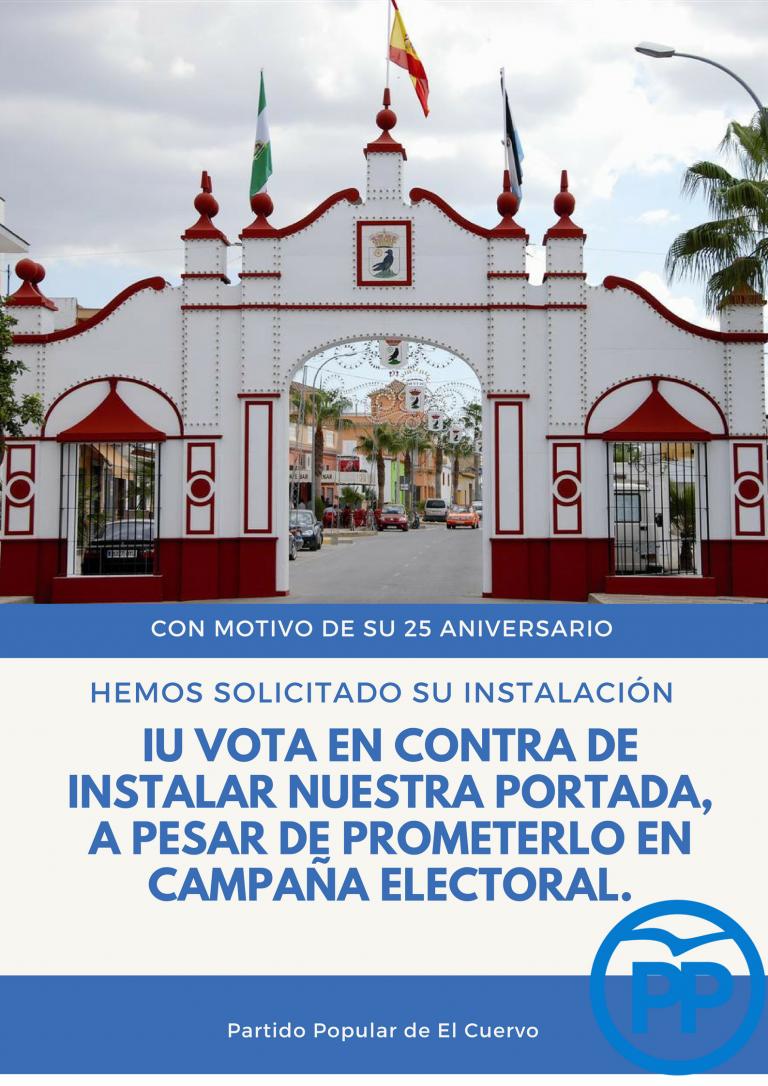 IU vota en contra de la moción presentada por el PP para la instalación de la portada de feria que representa a la casa de postas de El Cuervo