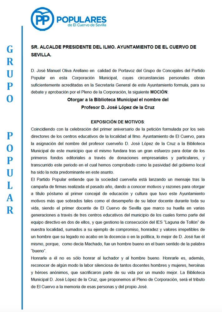 """El PP presenta una moción para asignar a la Biblioteca Municipal el nombre """"Profesor D. José López de la Cruz"""""""