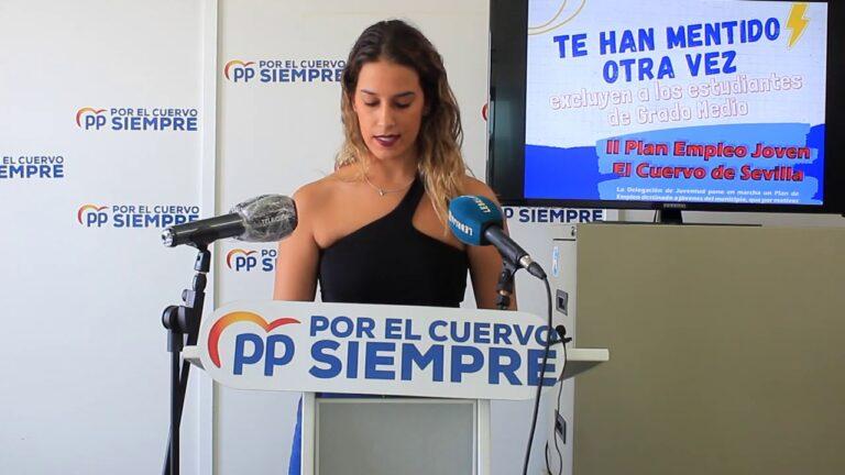 El PP denuncia que la Delegada de Juventud deja fuera a los estudiantes de grado medio en el II Plan de Empleo Joven tras manifestar que los incluiría